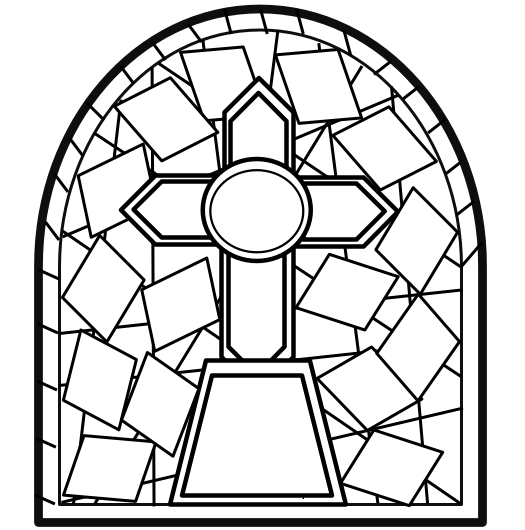 BW Stained Glass Outline