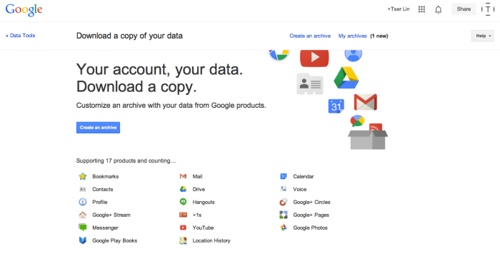 Google Takeout TSERLINCOM