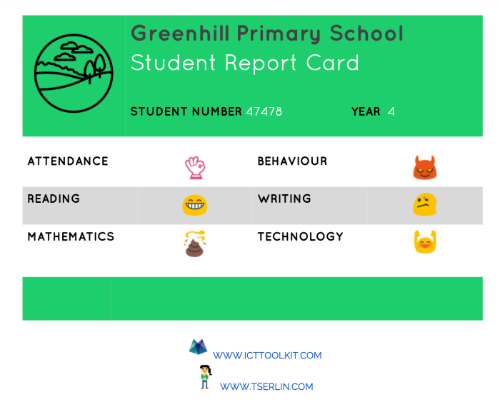 Emoticon Student Report Card  - TSERLIN.COM