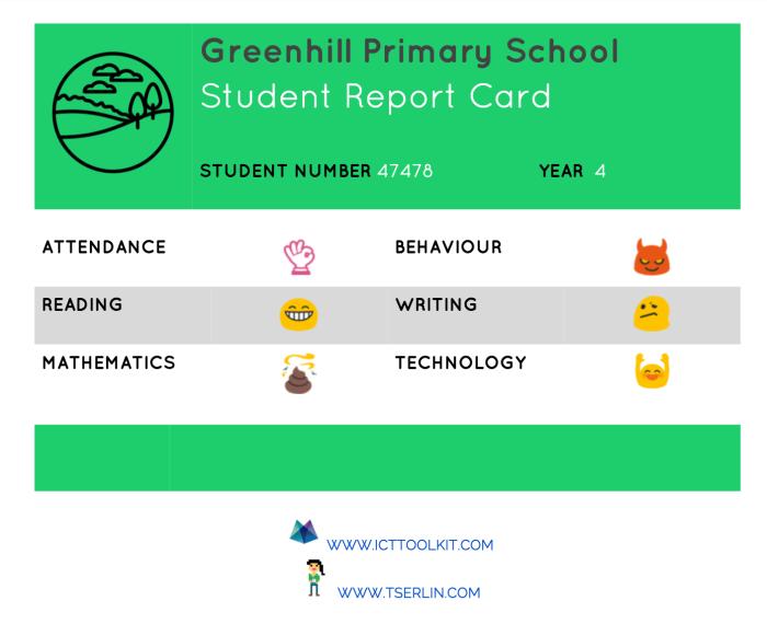 Emoticon Student Report Card  - TSERLIN.COM